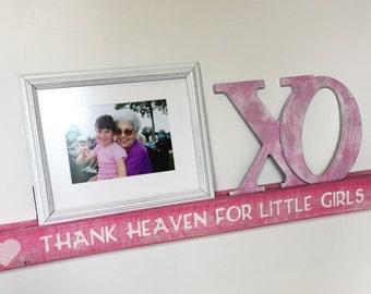 "SALE-Baby Girl Nursery Decor 32"" Pink Shelf-Ledge-Rustic Distressed Bookshelf- ""Thank Heaven For Little Girls"""