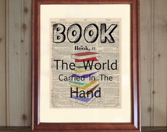 Book Dictionary Print, Quote about Books, Bookworm Gift, Book Lover's Gift, Library Decor, Book Print on 5x7 or 8x10 Canvas Panel