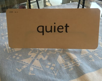 "Vintage card stock Grammar word card ""quiet"""