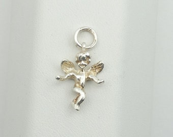 Vintage Winged Angel Charm In Solid Sterling Silver