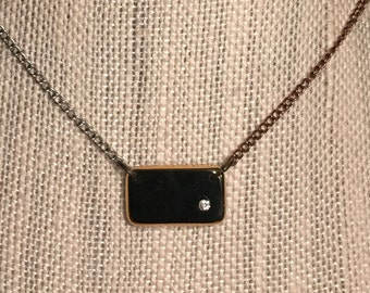 Necklace- Black Square Glass Charm with Crystal