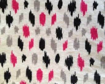 Pack and Play Sheet - Pink, Black and Gray - Flannel