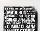 Cuban Food Poster - Black - Word Art - Food Art Print