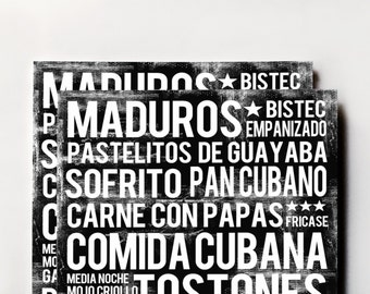 Cuban Food Poster - Black - Word Art - Food Art Print