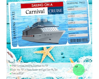 Carnival Cruise Printable Ticket Boarding Pass - Customizable Template, Digital PDF File - You Fill and Print