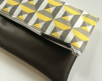 Yellow, Grey and White Geometric Fold Over Clutch, Clutch Purse, Vinyl Fold Over Clutch