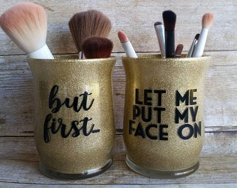 Makeup Brush Holders-Makeup Jar- Makeup Organization-Makeup Brushes- Makeup Brush Cup-Makeup Organizer-Makeup addict- Glitter jars-SET OF 2
