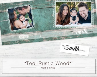 "USB Case ""Teal Rustic Wood"" Template WHCC"