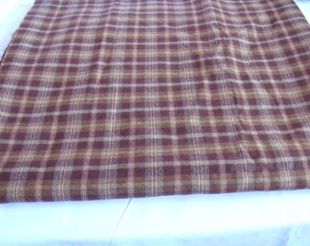 """unused remnant wool checked fabric, light weight brown tweed fabric, 66"""" x 77"""""""