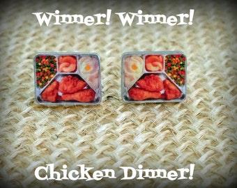 TV Dinner Earrings - TV Dinner Jewelry - Retro Earrings - Food Earrings - Fried Chicken - Space Age Food - Yesteryear - Chicken Dinner