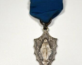 Antique Virgin Mary Religious Medal Ribbon Pin Sodalis Mariae Silvertone On Blue Ribbon Pin Vintage Medal Ribbon Antique Religious Medal