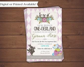 Alice in Wonderland Invitation, Alice in One-derland
