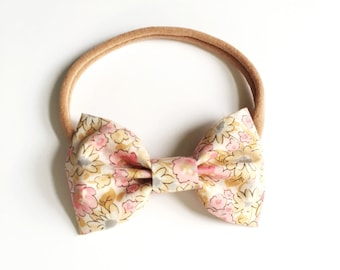 Large Classic Fabric Bow - dusty blossom lawn - headband or clip