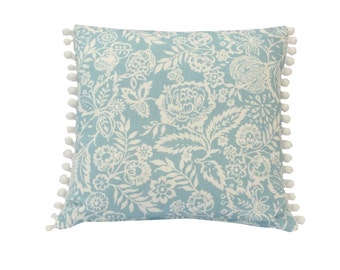 Bespoke country style shabby chic cushion cover/ Pillow case Pickle Polly Azure floral  Designer linen mix fabric pom pom trim on both sides