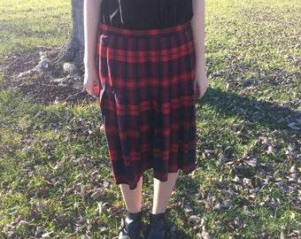 SALE Vintage Lands' End Pleated Plaid Midi Skirt Size 12