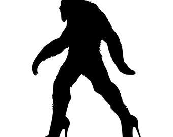 Bigfoot Sasquatch In High Heels Die-Cut Decal Car Window Wall Bumper Phone Laptop