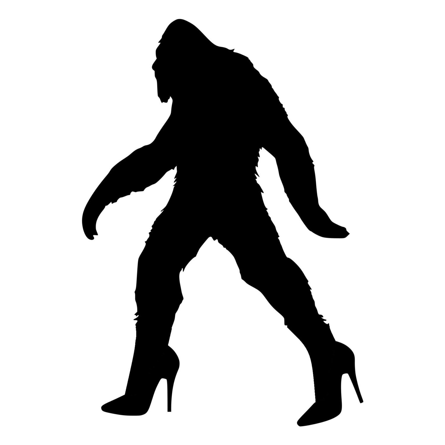 Wall Stickers Black Bigfoot Sasquatch In High Heels Die Cut Decal Car Window Wall