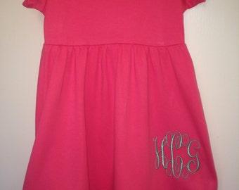 Girls' Monogrammed Ruffle Dress