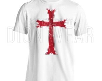 Crusader Knights Templar Distressed Christian Jesus Christ Cross T-shirt Unisex S-3XL