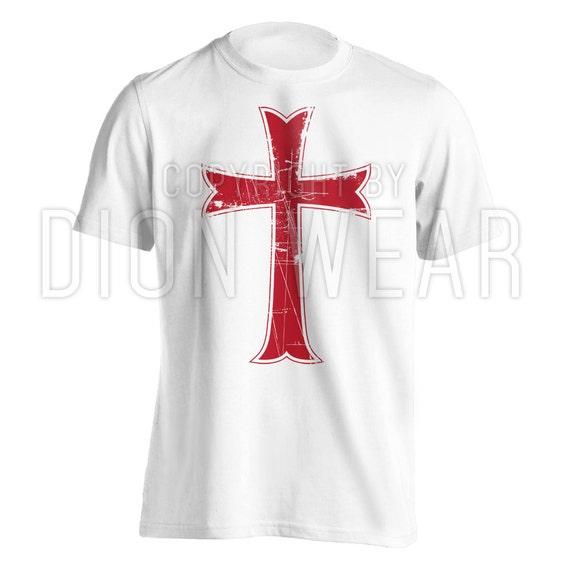 Crusader knights templar distressed christian jesus christ for Custom t shirts distressed