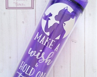 """Princess Tiana inspired """"Princess and the Frog"""" quote tumbler in purple"""