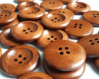 25pcs Wooden Buttons - 25mm - Sewing Buttons - Buttons Large - 4 Hole Buttons - Coffee Buttons - B21317