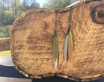 Feather earrings / long feather earrings / gold earrings/ tribal gypsy boho bohemian gift