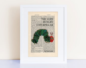 The Very Hungry Caterpillar by Eric Carle Print on a vintage encyclopedia page (unframed) - book cover art, Nursery Print