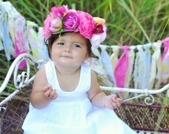 Flower Crown, Large Flower Crown for Baby, Flower Crown for Toddler, Floral Crown with Large Flowers