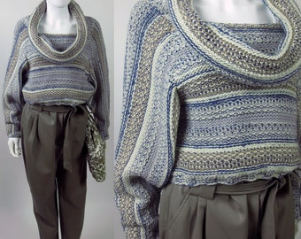 90s cropped cowl neck batwing striped hand knit sweater