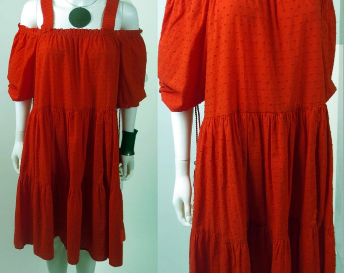 90s Folklore Ethnic boho fil coupe off shoulder cotton boho smock caftan tunic peasant dress
