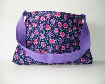 Small Purple Floral Purse - Little Girl Purse - Purple and Pink Flower Purse