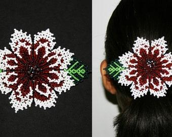 Tribal Hair Fashion - Lush Large Flower Barrette, Huichol Hair Barrette, Native American Barrettes, Flower Hair Clips, Ethnic Hair Accessory