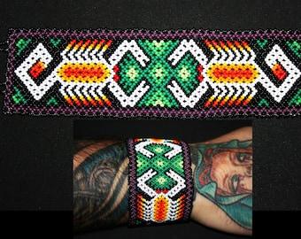 Native American Good Luck Bracelet, Scorpion Bracelet, Huichol Bracelet, Huichol Beadwork, Scorpions Mexican Jewelry, Peyote Hippie Bracelet