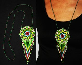 Morning Star, Native American Jewelry, Morning Star Necklace, Sun Medallion Necklace, Navajo Necklace, Huichol Beaded Necklace, Tribal