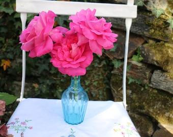 Very pretty French Vintage 1950's small blue flower vase. French Vintage Shabby chic.
