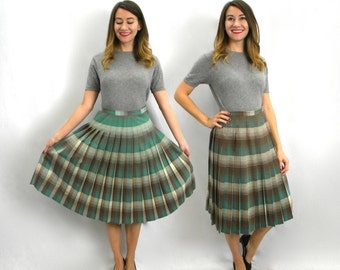 50s Green Plaid Reversible Skirt | Pleated Turn About Skirt | Medium