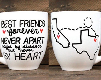 Best Friend Forever Long Distance Mug // Long Distance Relationship // Going Away Present // BFF Gift