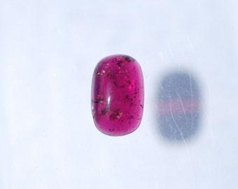 Rubellite Tourmaline Cabochon, Intense Dark Pink Rubellite, 13 x 8mm Rectangle, 4.1ct