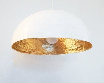 White and gold hanging light -Collection PM- ecofriendly