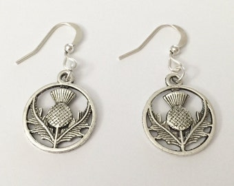 Silver Thistle Earrings/Antique Silver Thistle Earrings/Outlander Thistle Earrings