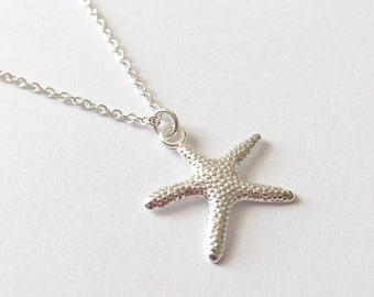 Silver Starfish Necklace/Silver Plated Starfish Necklace/Silver Sea Star Necklace/Silver Plated Sea Star Necklace/Starfish Necklace