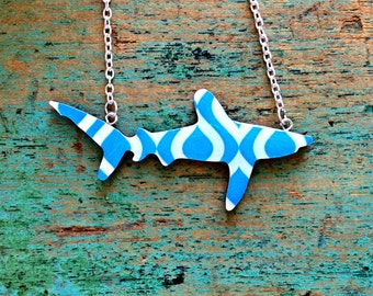 Shark Necklace / Oceanic Whitetip Shark Necklace - Blue Mosaic