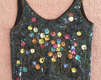 Herrera Sequin Evening Top, sz M