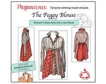 PDF: Paganoonoo Peggy Blouse Pattern with Double Collar Pattern. Transform dress shirts into woman's blouse! Paganoonoo