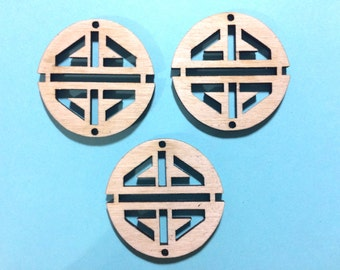 Laser Cut Bangle Shape Cutout Circles - Birch Beads - Wire Bracelet - Tassel Necklace Charm Jewelry Personalized Custom Made