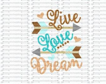SVG, DXF, EPS Cut file, Live love dream arrows svg, rustic tribal arrow svg, socuteappliques, silhouette cut file, SvG Sayings, svg sayings
