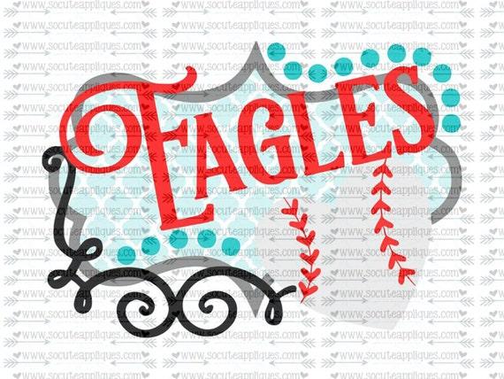 Eagles Softball Baseball Frame Svg Team Spirit Svg