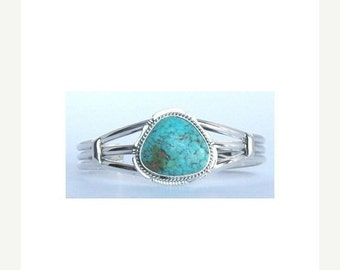 Navajo Silver Turquoise Bracelet Native American Signed and Free Shipping