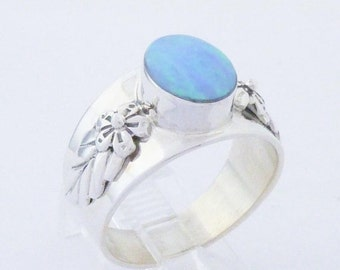 Southwest Blue Lab Opal Ring Sterling Silver Ring 9 1/2